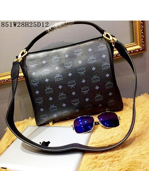 MCM Black Litchi Veins Leather Small Shoulder Bag