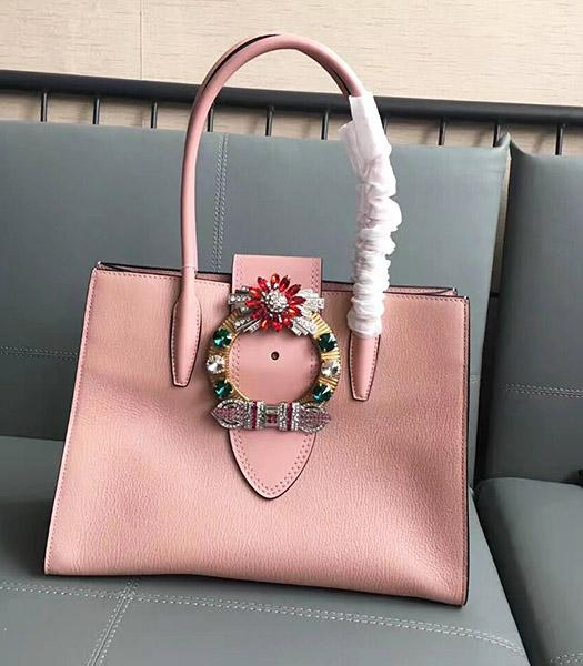 Miu Miu Original Leather Rhinestone Decorative Handle Bag Pink