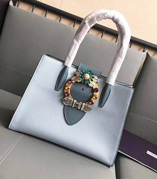 Miu Miu Original Leather Rhinestone Decorative Handle Bag Light Blue