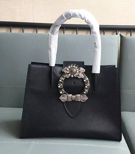 Miu Miu Original Leather Rhinestone Decorative Handle Bag Black