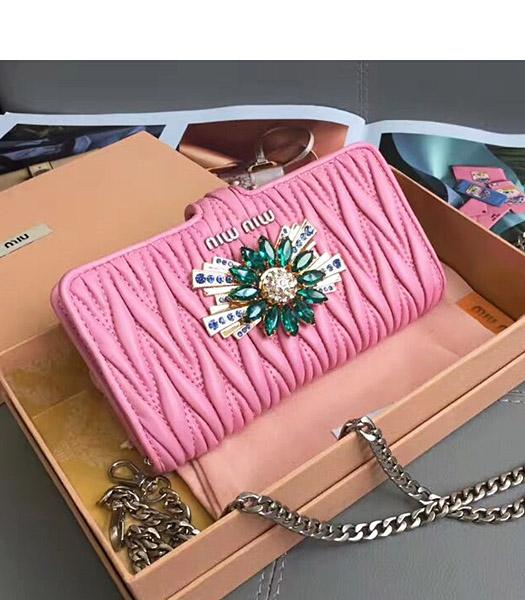 Miu Miu Matelasse Original Leather Rhinestone Small Bag Pink