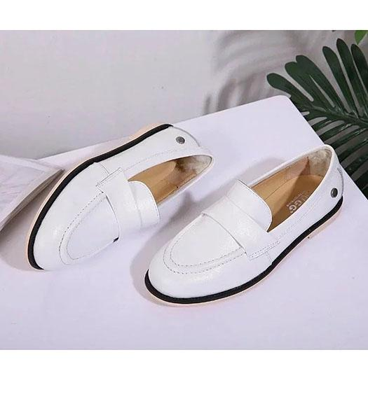 UGG White Upper Calfskin Leather Casual Shoes