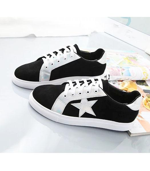 UGG Calfskin With Suede Leather Colorful Stars Casual Shoes Black