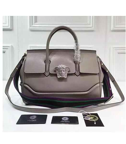 Versace Palazzo Empire Grey Leather Top Handle Bag