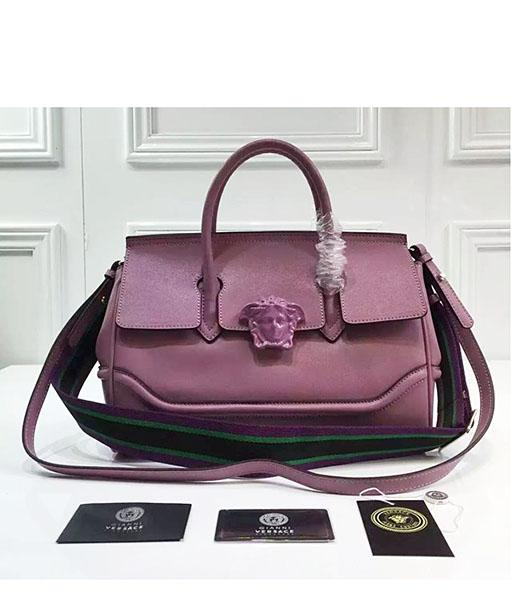 Versace Palazzo Empire Purple Leather Top Handle Bag