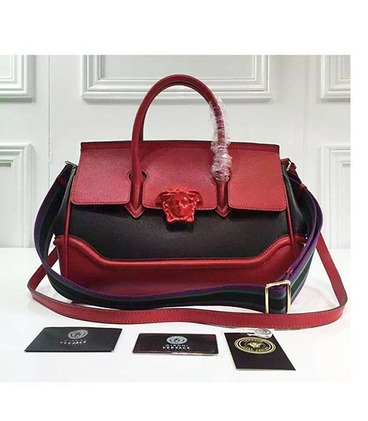 Versace Palazzo Empire Leather Top Handle Bag Red