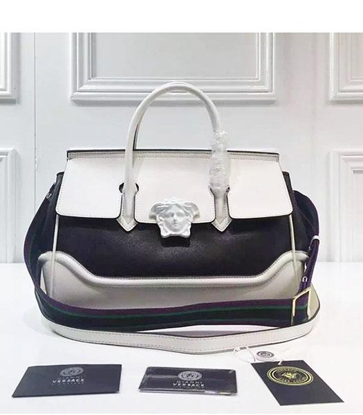 Versace Palazzo Empire Leather Top Handle Bag White