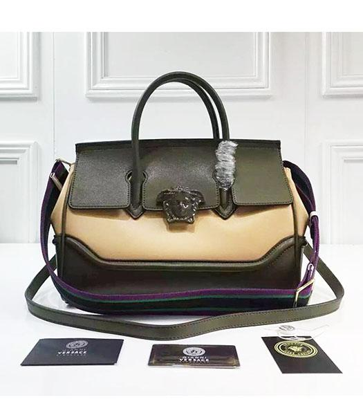 Versace Palazzo Empire Leather Top Handle Bag Dark Green