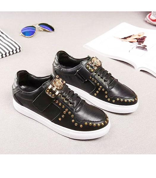 Versace Calfskin Leather Golden Rivets Casual Shoes Black