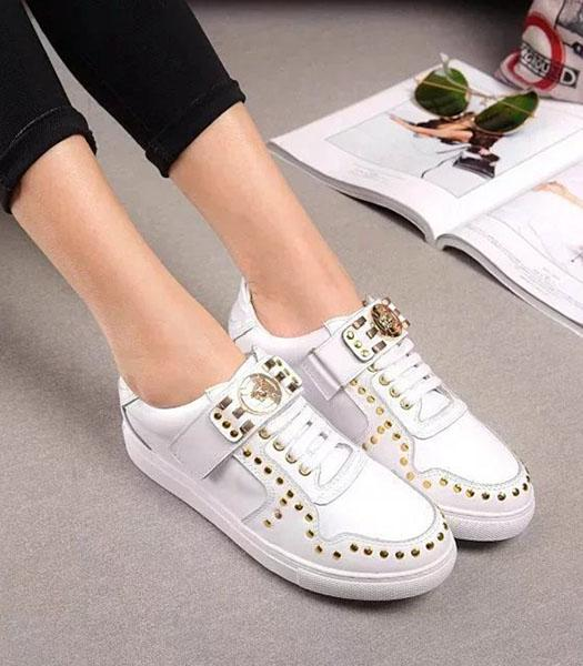 Versace Calfskin Leather Golden Rivets Casual Shoes White
