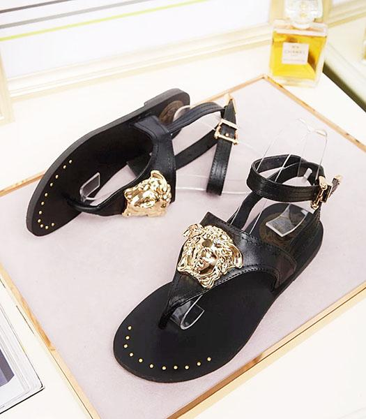 Versace Calfskin Leather Golden Rivets Flip Flops Black