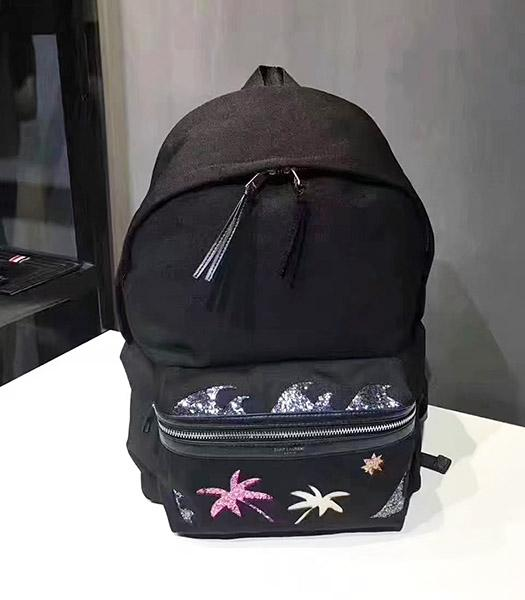 Yves Saint Laurent Trees Decorative Black Backpack