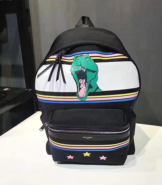 Yves Saint Laurent Dinosaur Decorative Black Backpack