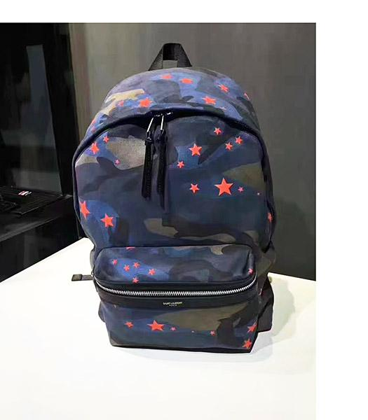 Yves Saint Laurent Stars Decorative Backpack Dark Blue