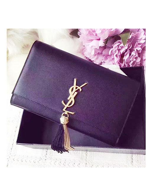 YSL Black Leather Double Tassel Chains Shoulder Bag