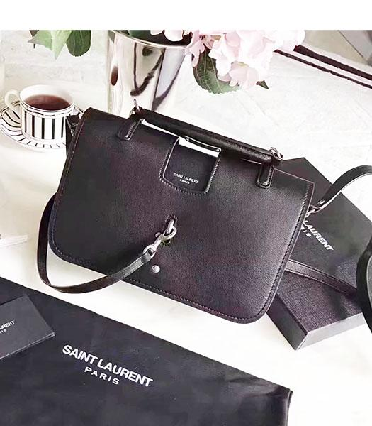 YSL Black Deerskin Leather Small Shoulder Bag