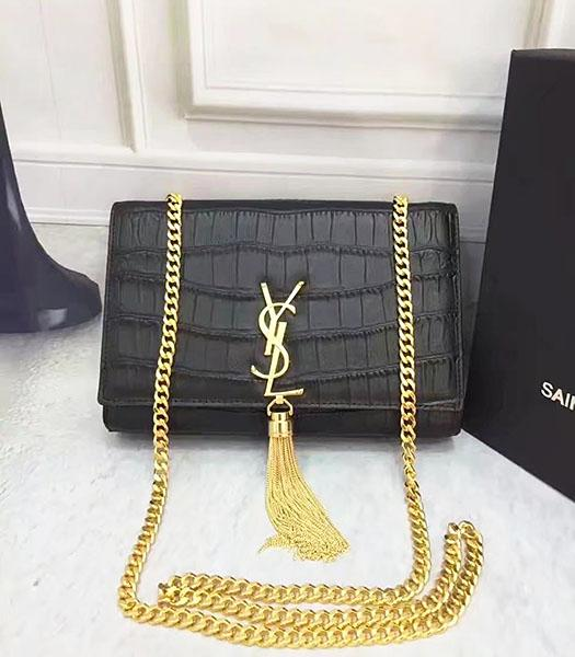 YSL Original Croc Veins Calfskin Leather Shoulder Bag Black
