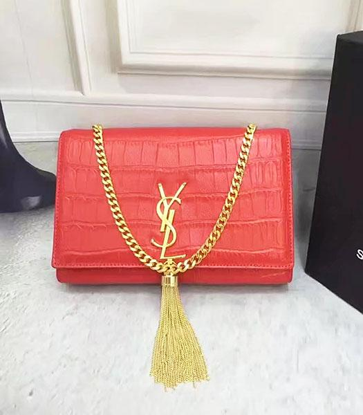YSL Original Croc Veins Calfskin Leather Shoulder Bag Red