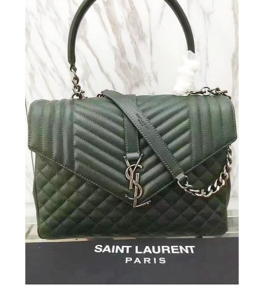 YSL Monogram Sheepskin Leather Chains Shoulder Bag Dark Green