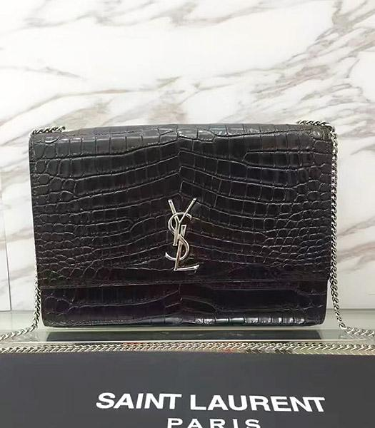 YSL Kate Monogram Black Croc Veins Leather Shoulder Bag