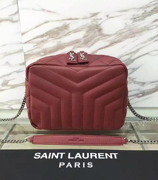 YSL Monogram Jujube Red Calfskin Leather Small Shoulder Bag