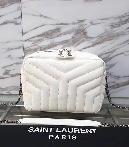 YSL Monogram White Calfskin Leather Small Shoulder Bag