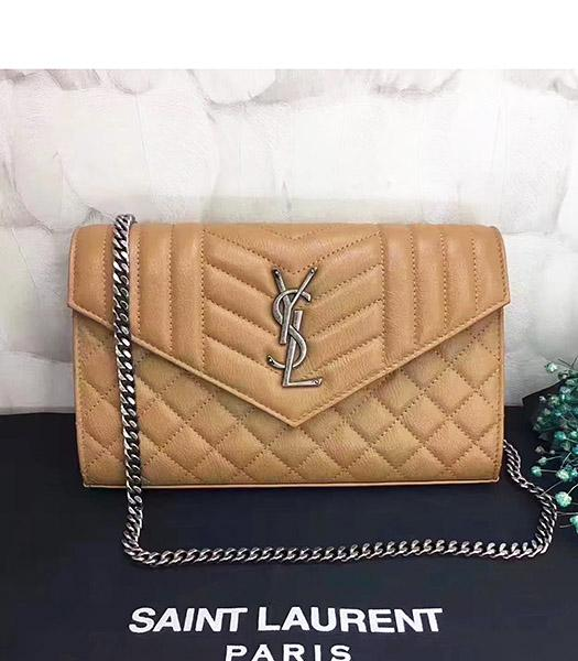 YSL Kate Monogram Apricot Leather Quilted Small Bag