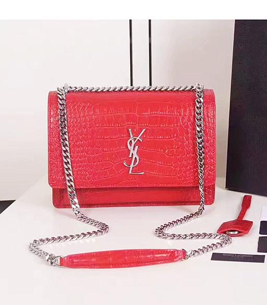 YSL Red Croc Veins Leather Chains Small Flap Bag