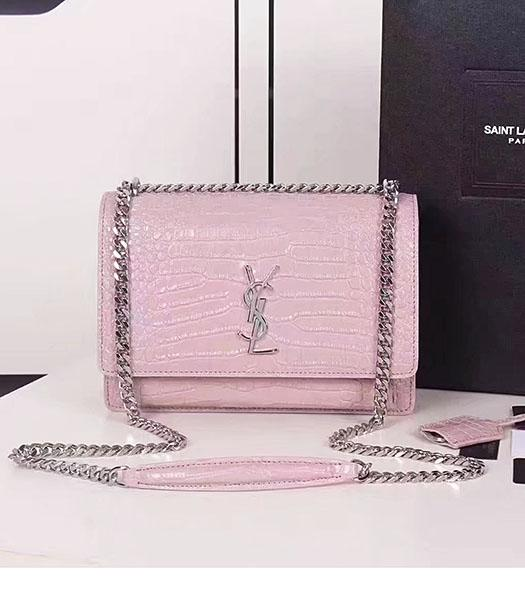 YSL Pink Croc Veins Leather Chains Small Flap Bag