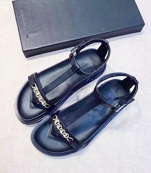 Alexander Wang Black Calfskin Leather Casual Sandals