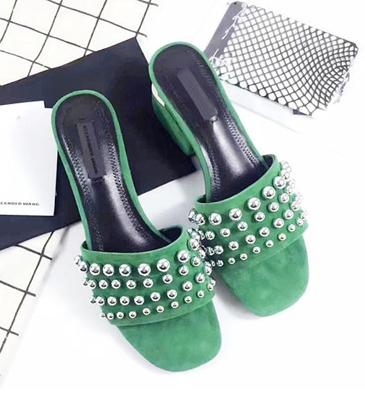 Alexander Wang Green Suede Leather Rivets Chunky Slippers
