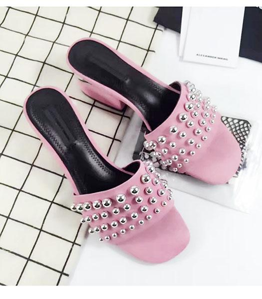 Alexander Wang Pink Suede Leather Rivets Chunky Slippers