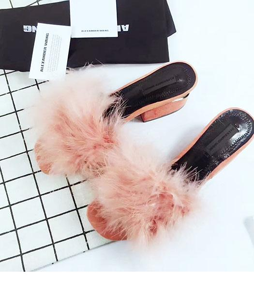 Alexander Wang Orange Suede Leather Ostrich Hair Slippers