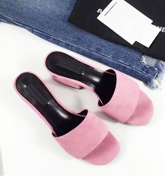 Alexander Wang Pink Suede Leather Chunky Slippers