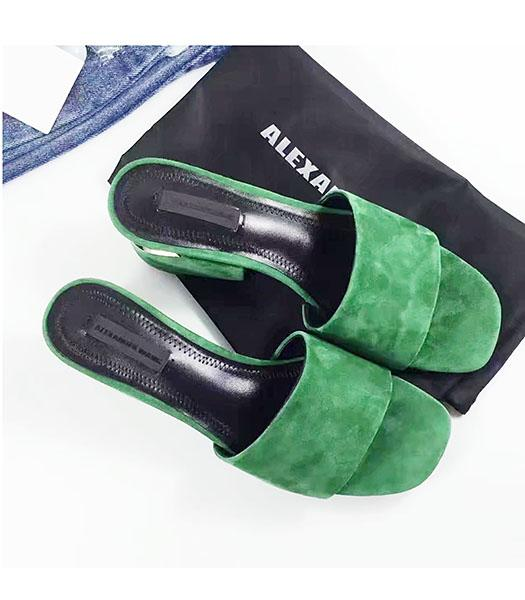 Alexander Wang Green Suede Leather Chunky Slippers