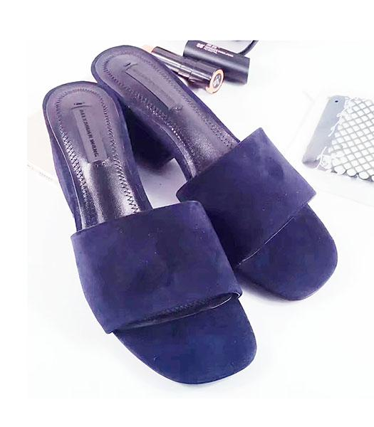 Alexander Wang Dark Blue Suede Leather Chunky Slippers