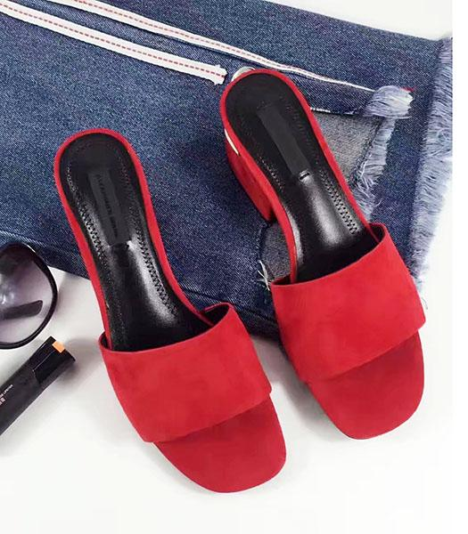 Alexander Wang Red Suede Leather Chunky Slippers