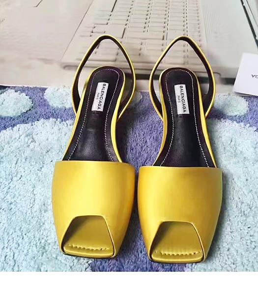 Balenciaga Yellow Silk 4.5cm Low Heel Sandals