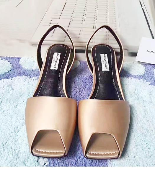 Balenciaga Coffee Silk 4.5cm Low Heel Sandals