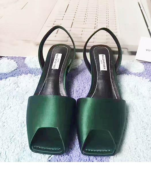 Balenciaga Dark Green Silk 4.5cm Low Heel Sandals