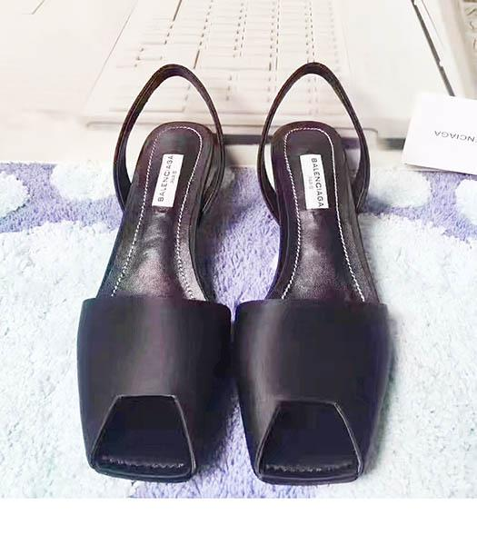 Balenciaga Black Silk 4.5cm Low Heel Sandals