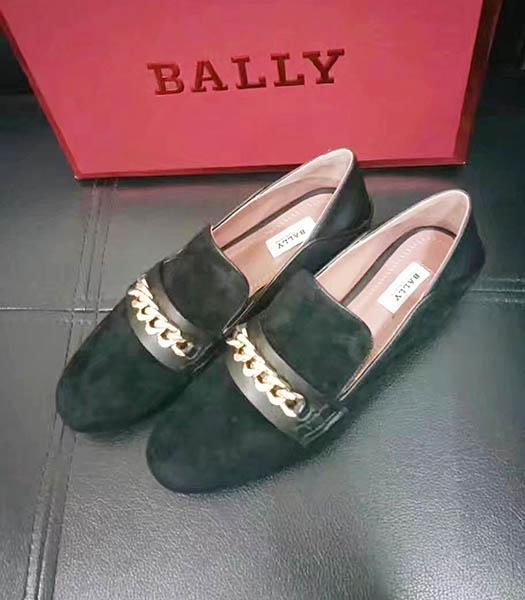 Bally Suede Leather Chains Casual Shoes Dark Green