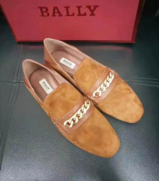 Bally Suede Leather Chains Casual Shoes Earth Yellow