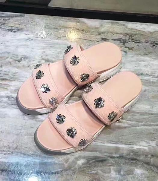 Christian Dior Beads Decorative Casual Sandals Pink