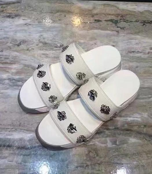 Christian Dior Beads Decorative Casual Sandals White