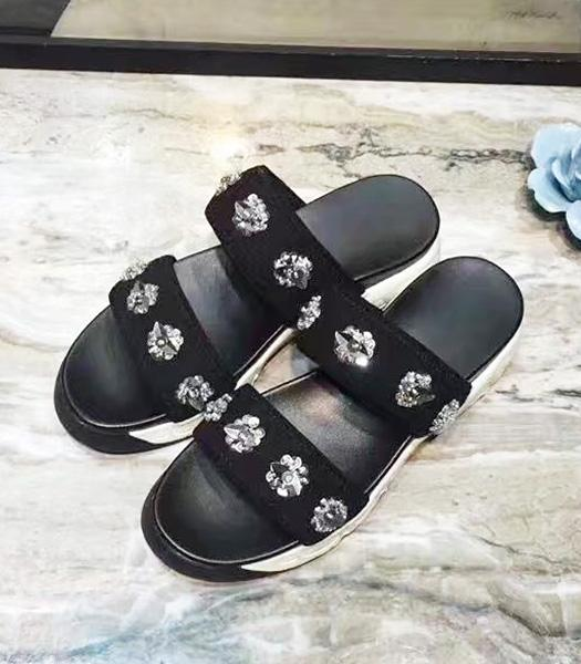Christian Dior Beads Decorative Casual Sandals Black