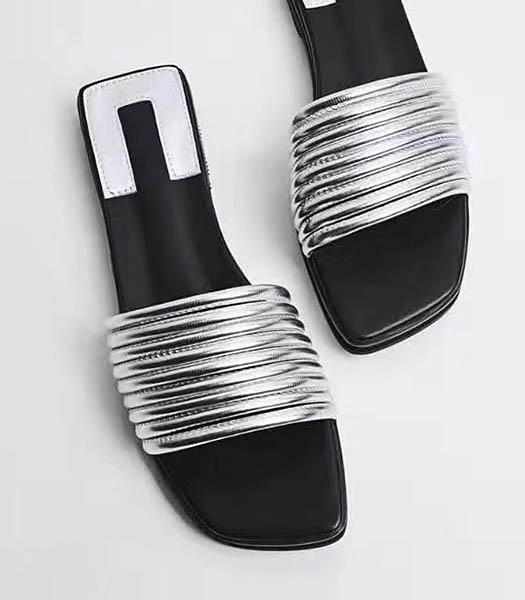 Christian Dior Silver New Style Striper Vogue Slippers Shoes