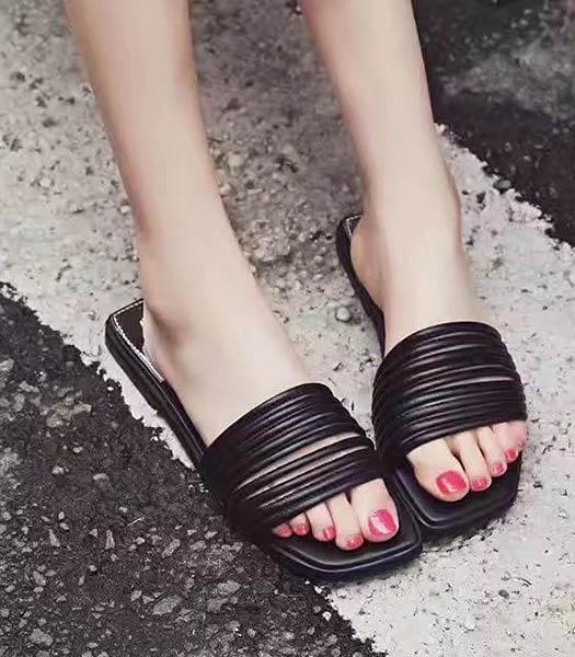 Christian Dior Black New Style Striper Vogue Slippers Shoes