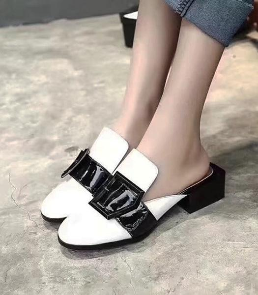 Christian Dior Patent Leather Casual Sandals White
