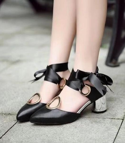 Christian Dior Calfskin With Ribbon Sandals Black